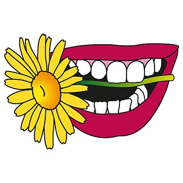 sensual hippie smile with flower by nickmanofredda