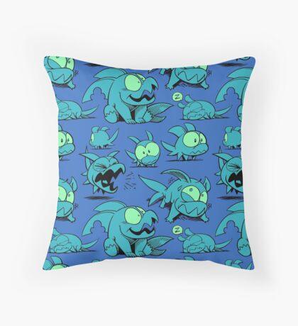 Chewster - Land Sharks - Blue/Green Pattern Throw Pillow