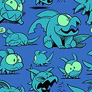 Chewster - Land Sharks - Blue/Green Pattern by ChrisWhartonArt