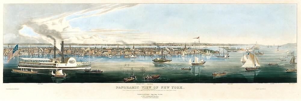 Vintage Panoramic Map of NYC (1844) by BravuraMedia