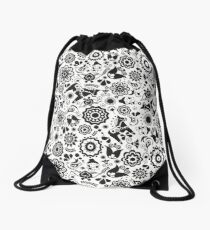 Black and White Monochrome Scandi Folk Art Floral Garden Drawstring Bag