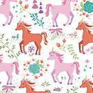 Pink & Coral Unicorn Pattern by latheandquill