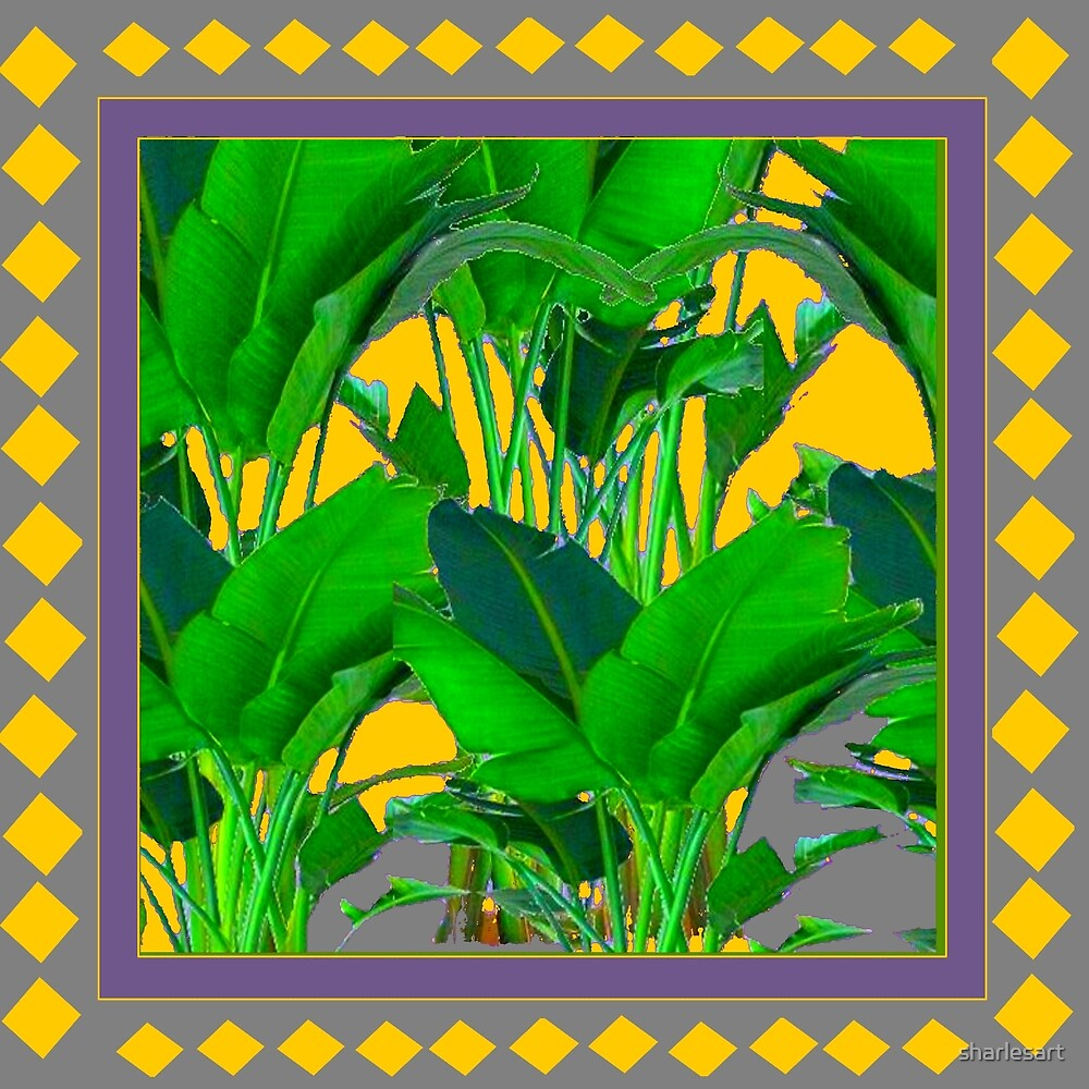 MAUVE YELLOW DIAMONDS TROPICAL ART by sharlesart