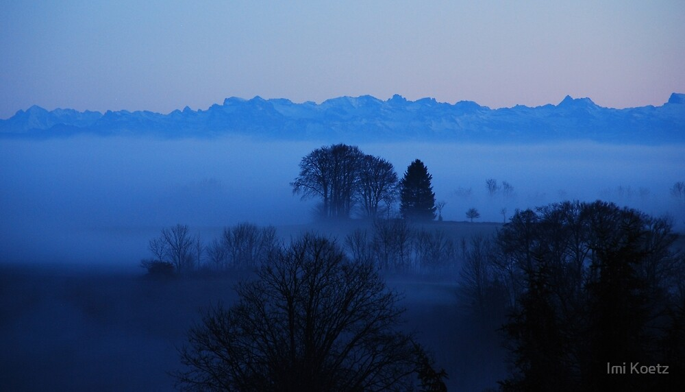 After Sunset.....Foggy Black Forest and the Suisse Alps by Imi Koetz