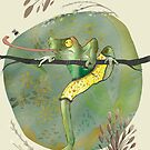 Frog catches fly - 'get out of your comfort zone' by yvonne-crayon