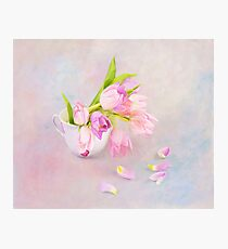 Pink & Purple Tulips And Tea Cup Photographic Print