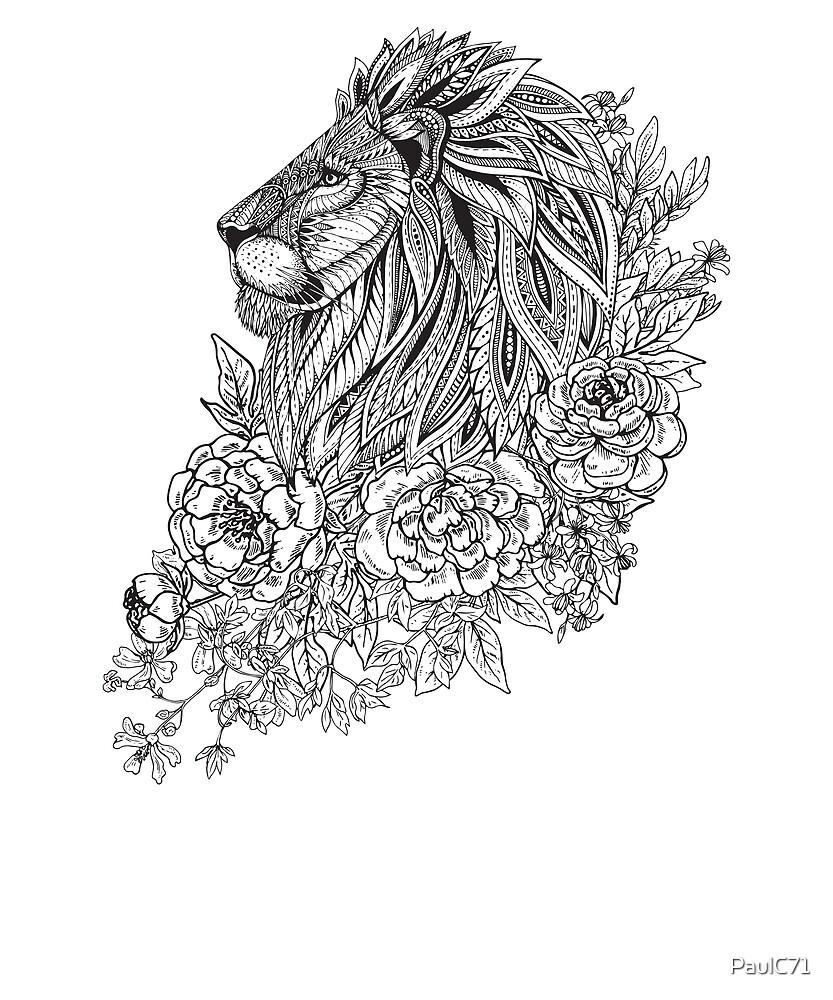 Zentangle Artwork of Lion in Profile by PaulC71