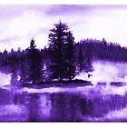 Lavender Misty lake watercolor landscape by DarinaDrawing