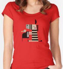 Musik Zebra Tailliertes Rundhals-Shirt