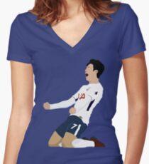 Son Heung Min Tottenham / Korea Original Design Women's Fitted V-Neck T-Shirt
