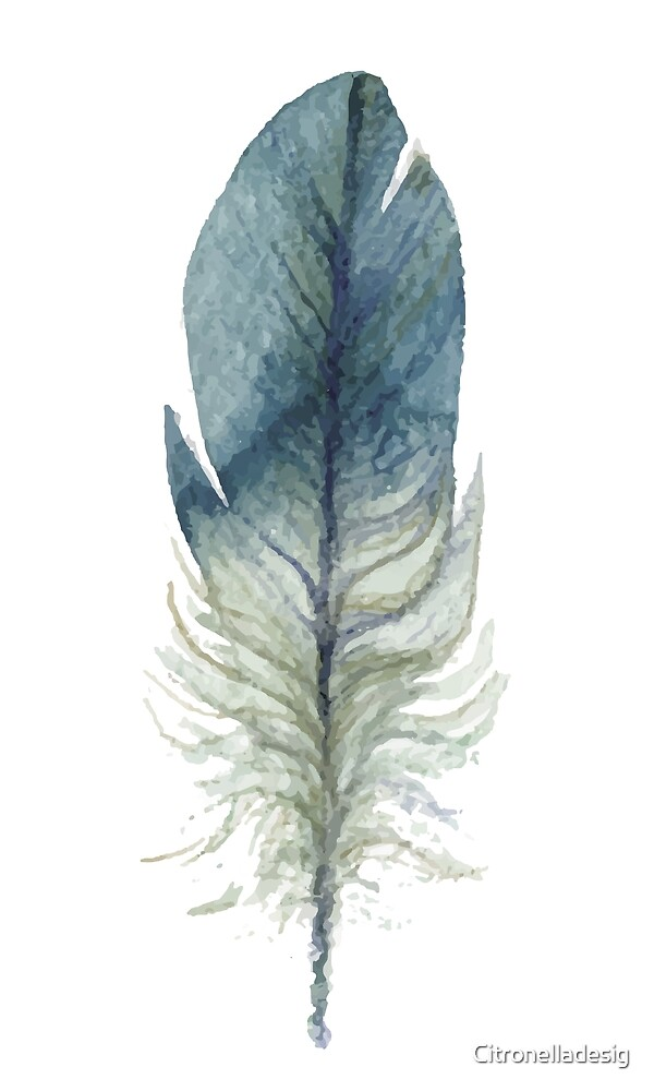 Boho chic watercolor blue feather by Citronelladesig