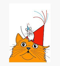 Cat & Mouse Party Fun ! Photographic Print