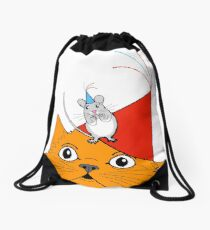Cat & Mouse Party Fun ! Drawstring Bag