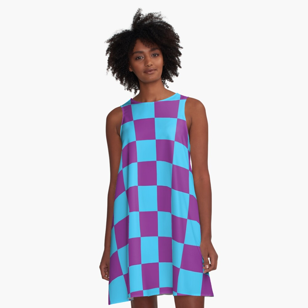 Checkered Pattern: Blue & Purple A-Line Dress Front
