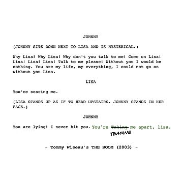 The Room Original Script by munchkinboutiq