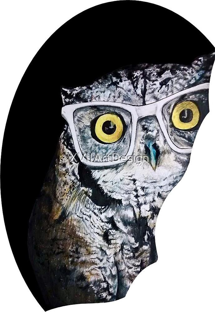 Peek-a-boo Hipster Owl by XVIIArtDesign