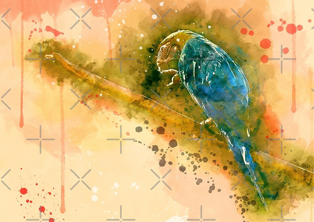 Parrot Ara, Parrot Ara watercolor by Rosaliartbook