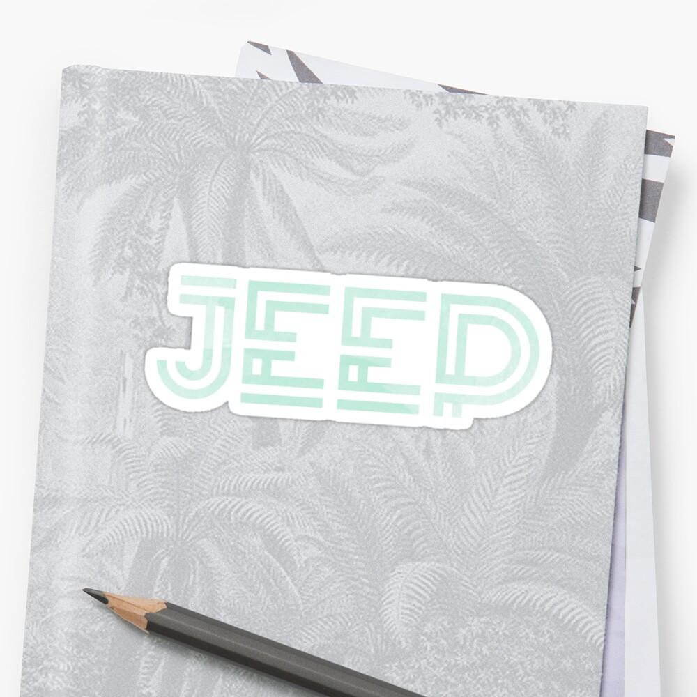 Menta Acuarela Jeep Design Pegatina