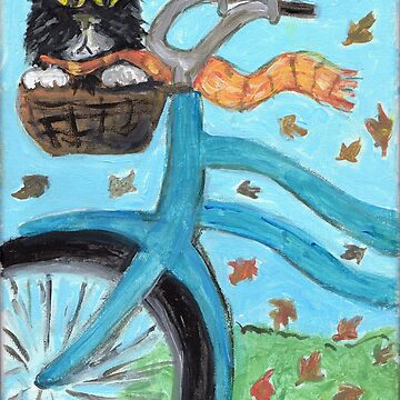 Cute Bicycle Basket Cat Folk Art by mytshirtfort
