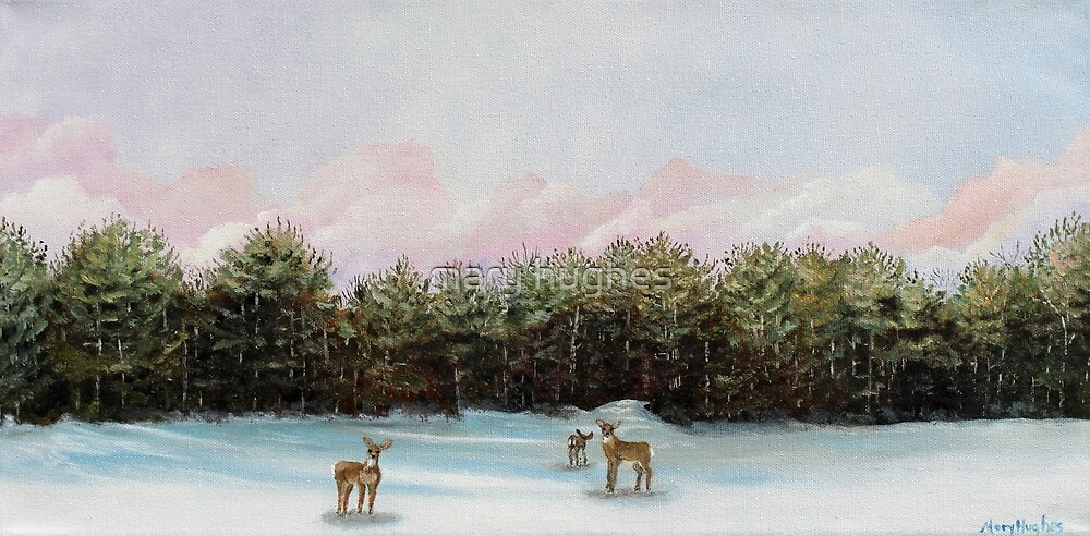 Pine View Deer Sunrise Landscape by mary hughes