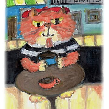 Beatnik Folk Art Cat Painting by mytshirtfort