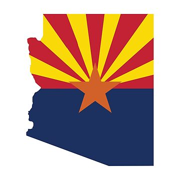 Arizona State Outline with Flag by JPDesignsStuff