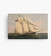 Vintage Illustration of a Schooner Sailboat (1867) Metal Print