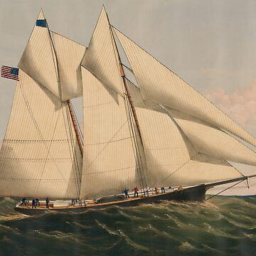 Vintage Illustration of a Schooner Sailboat (1867) by BravuraMedia