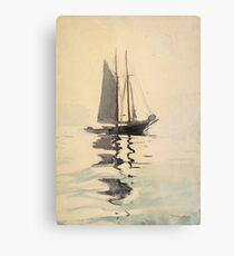 Vintage Schooner Sailboat Watercolor Painting (1894) Metal Print