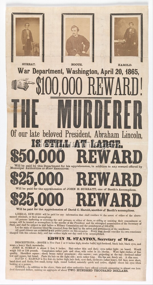 Vintage Lincoln Assassination Wanted Poster by designwithlogan