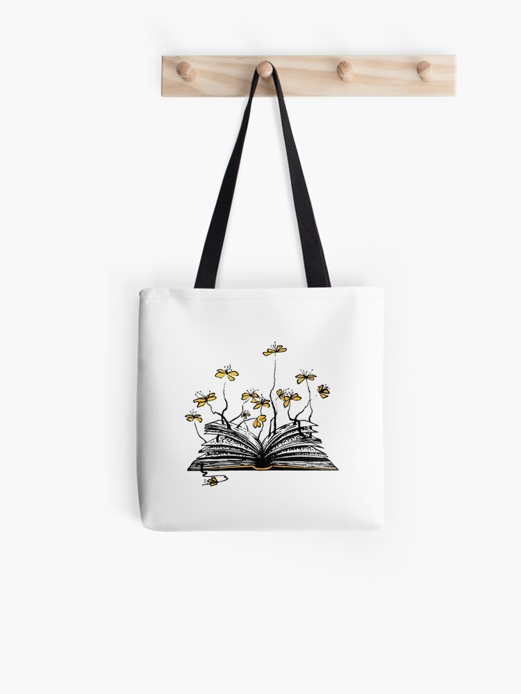 Open Book and Flowers Ink Drawing | Tote Bag