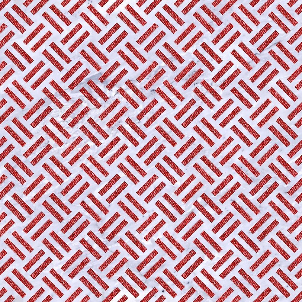 WOVEN2 WHITE MARBLE & RED DENIM (R) by johnhunternance