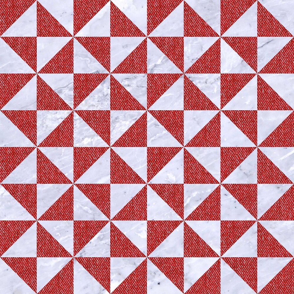 TRIANGLE1 WHITE MARBLE & RED DENIM by johnhunternance