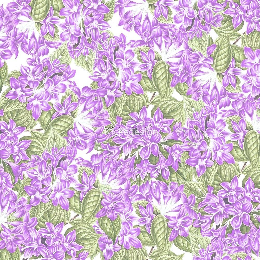 Botanical violet lavender green floral pattern by Maria Fernandes