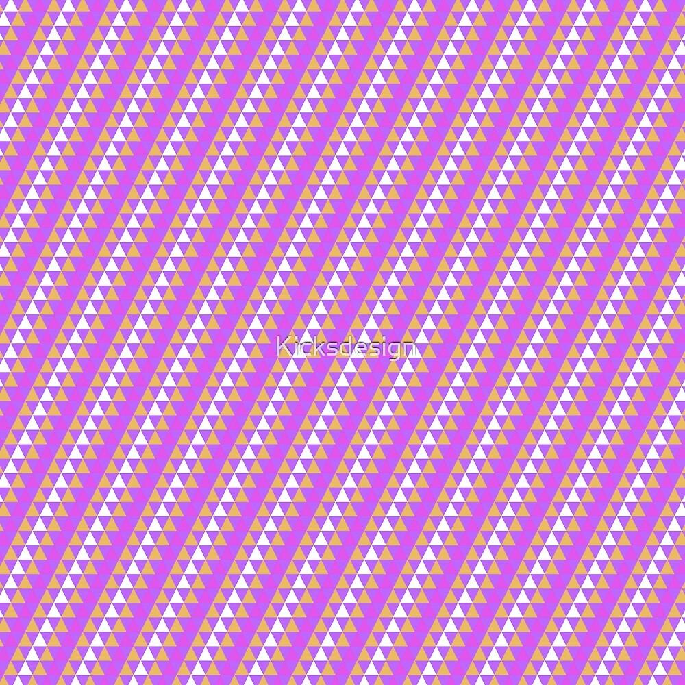 Geometrical neon pink orange triangles pattern by Maria Fernandes