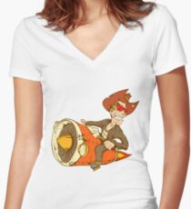 Biker crazy cowboy Women's Fitted V-Neck T-Shirt
