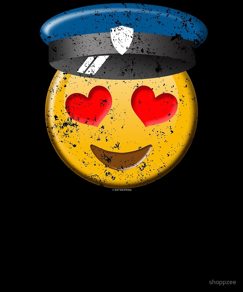 Funny Police Emoji In Love Police Wife Shirt Police T Shirt by shoppzee