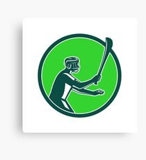 Hurling Player Icon Retro Canvas Print