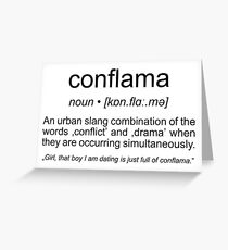 Word definition greeting cards redbubble conflama american slang for conflict and drama greeting card m4hsunfo