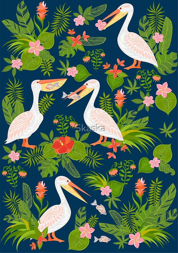 Decorative seamless pattern with pelicans, tropical flowers and leaves. by Skaska