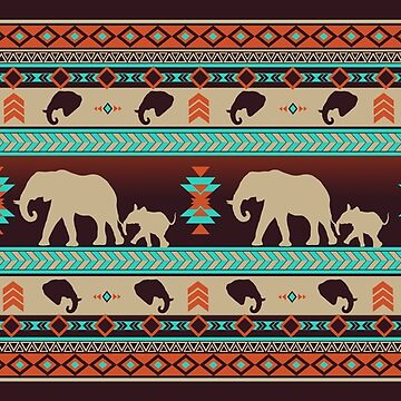Boho animals | Elephants sunset by CamillaHaggblom