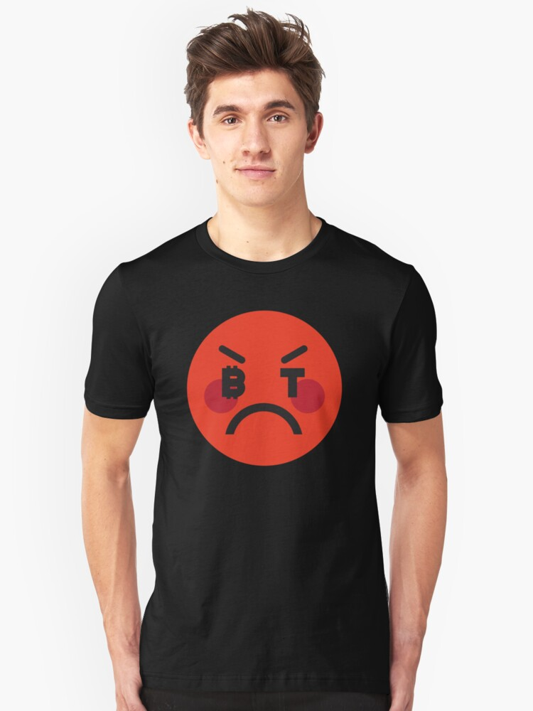 Bitcoin Angry Smiley Unisex T-Shirt Front