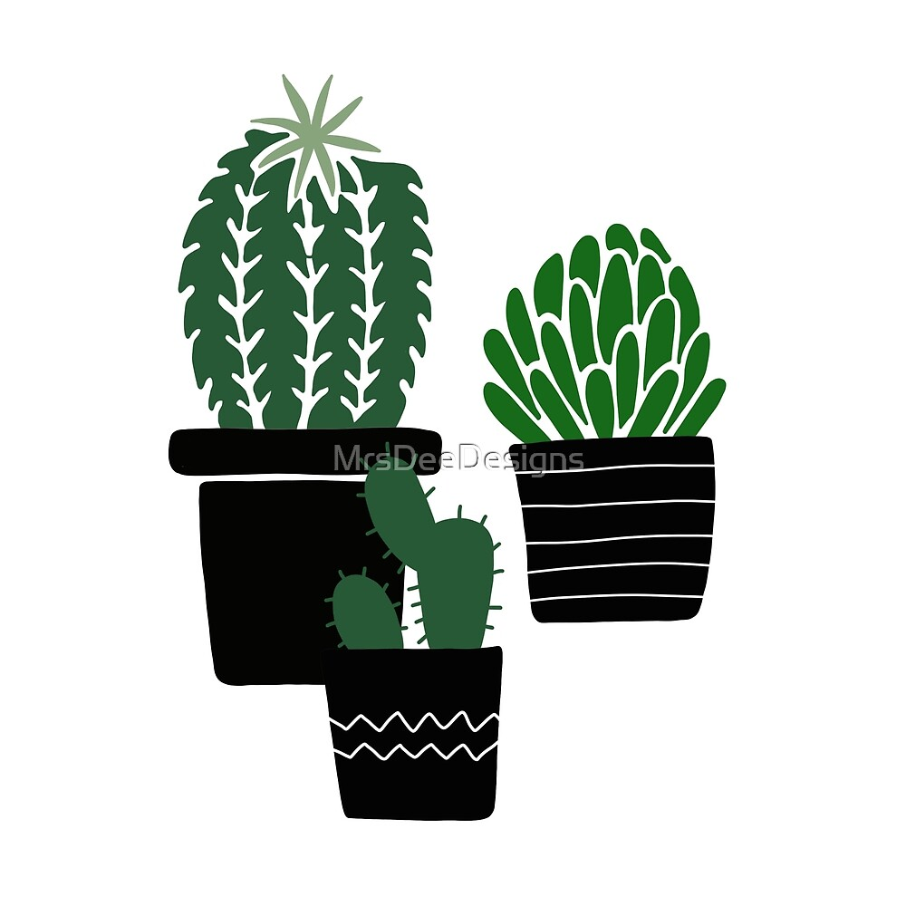 Succulents - black-green by MrsDeeDesigns