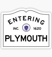 Entering Plymouth Massachusetts  - Commonwealth of Massachusetts Road Sign Sticker