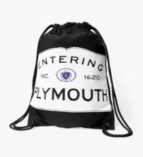 Entering Plymouth Massachusetts  - Commonwealth of Massachusetts Road Sign Drawstring Bag