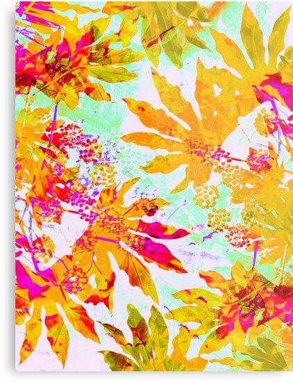 Tropical Adventure - Neon Orange, Pink and Mint by Dominiquevari