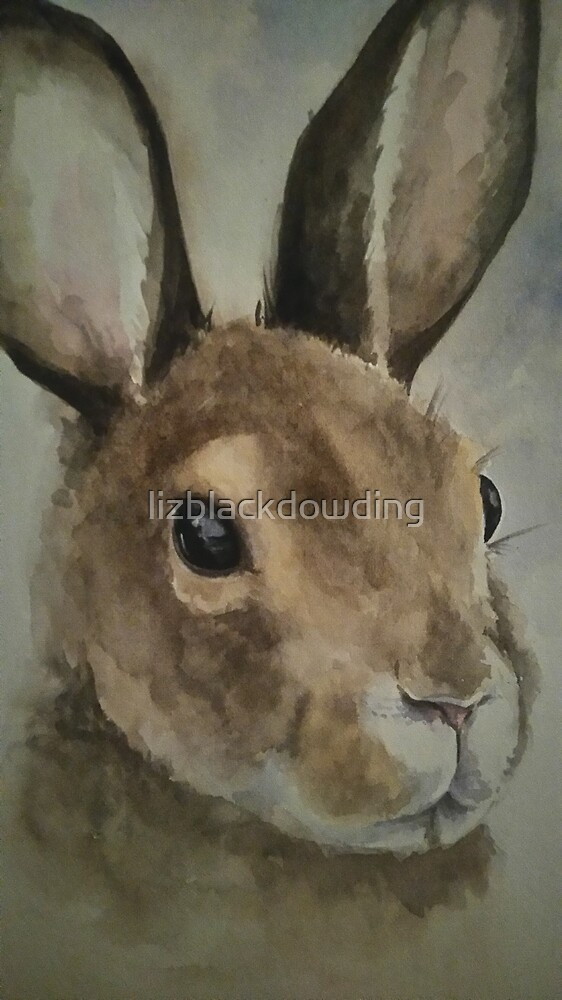 Watercolour Hare by lizblackdowding
