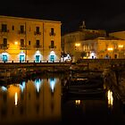 Midnight Silence and Solitude - Syracuse Sicily Illuminated Waterfront  by Georgia Mizuleva