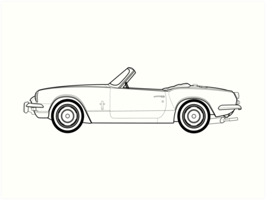 Triumph Spitfire Mk3 Classic Car Outline Drawing Art Prints By