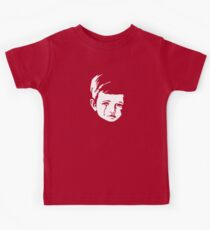 Faces - crying gypsy boy on a red and orange floral background Kids Tee